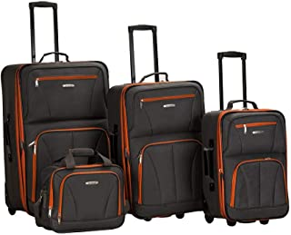 Rockland Luggage Skate Wheels 4 Piece Luggage Set, Charcoal