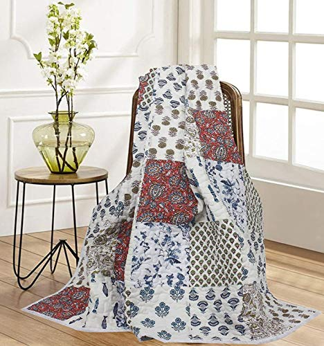 RAJRANG BRINGING RAJASTHAN TO YOU Zachte gooien deken - Pure katoen Patchwork gooit Comfortabele Indiase Quilts Traditionele Sofa gooit en spreien voor stoelen Sofa Couch Multi Color 152x127 cm