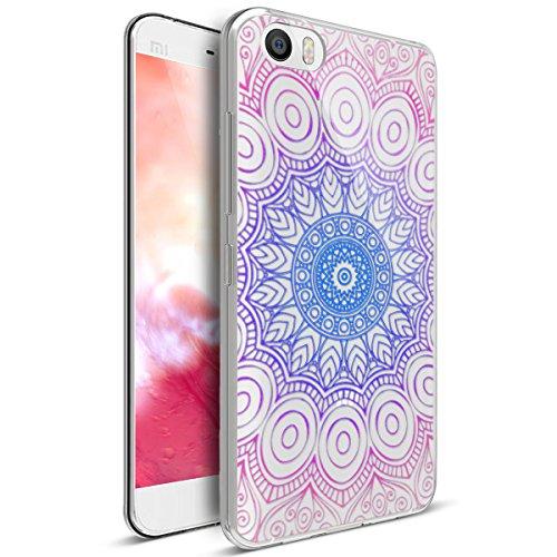 Kompatibel mit Xiaomi Mi5 Hülle,Xiaomi Mi5 Schutzhülle,Bunte Gemalte Mandala Blumen Transparent TPU Silikon Handyhülle Tasche Silikon Hülle Durchsichtig Schutzhülle für Xiaomi Mi5,Indische Sonne Blumen