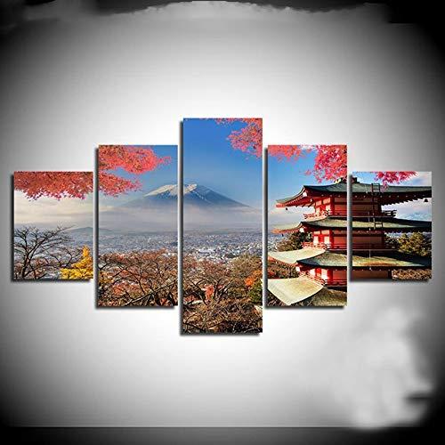 5 Panneau Fuji Temple Japonais Automne Paysage DIY 5d diamant peinture Diamant Broderie mosaïque Point De Croix Mosaïque Image pâtes