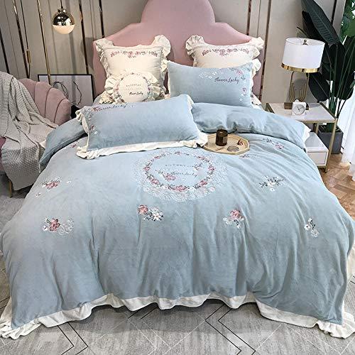 funda de edredón para cama individual-Franela gruesa de dibujos animados más ropa de cama de plumón cama individual funda nórdica tamaño king funda de almohada regalo-GG_Cama de 2,0 m (4 piezas)