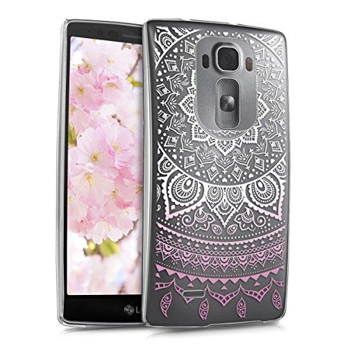 kwmobile Hülle kompatibel mit LG G Flex 2 - Handyhülle - Handy Case Indische Sonne Rosa Weiß Transparent