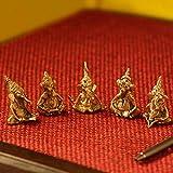 ExclusiveLane Brass Decorative Car Dashboard 'Golden Ganeshas' Idols & Figurines (Set of 5)