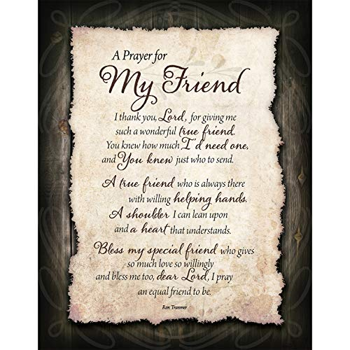 Friend Prayer Wood Plaque with Inspiring Quotes 11.75 in x 15 in - Vertical Frame Wall Decoration   Keyhole on Back for Hanging   I Thank You, Lord, for Giving me Such a Wonderful True Friend