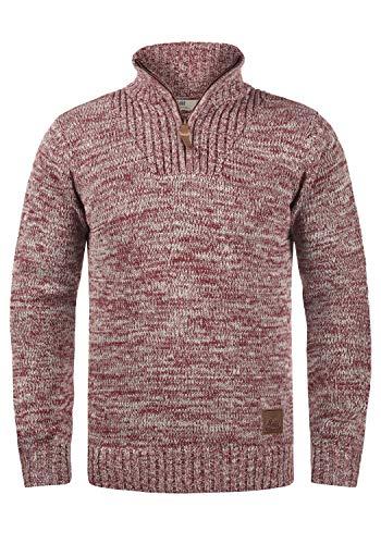 !Solid Philostrate Herren Strickpullover Troyer Grobstrick Pullover Aus 100% Baumwolle Mit Reißverschluss, Größe:XL, Farbe:Wine Red Melange (8985)