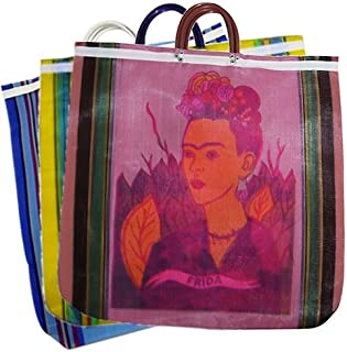 Assorted Frida Tote Market Bag Recycled 18 SQ inch Mexico Folk Art Recycled Plastic Bottles Fiber Printed