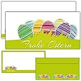 12-er Set FROHE OSTERN Grußkarten inklusive passende Umschläge - die modernen Osterkarten sind als Brief oder Postkarte geeignet - von BREITENWERK