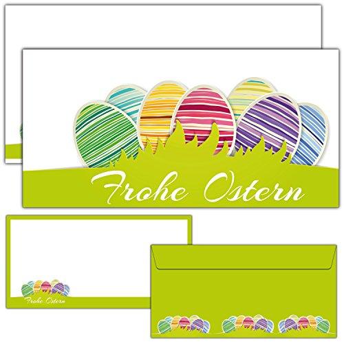 12-er Set FROHE OSTERN Grußkarten inklusive passende Umschläge - die modernen Osterkarten sind als Brief oder Postkarte geeignet - von BREITENWERK®