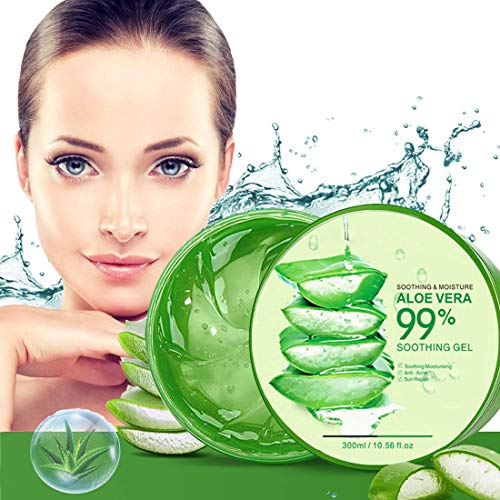 Aloe Vera Gel 300ml Natürliche beruhigende und pflegende Feuchtigkeitscreme Bio Creme 99% Pur, Ideal für Sonnenbrand Reparieren, trockene strapazierte Empfindliche Haut - für Gesicht, Haare und Körper