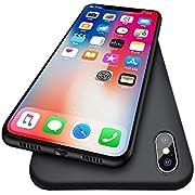 iPhone X Case, Pomufa Ultra Slim Premium Flexible TPU Back Plate Full Protective Anti-Scratch Cover Case for Apple iPhone X -Black