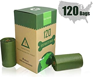 MICRORANGE 100% Compostable Dog Poop Bags,8 Rolls 120 Count Eco-Friendly Waste Bags for Dog and Cat, Each Strong Dog Waste Bags Measures 9 x 13 Inches