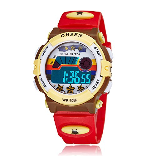 Kid Watch Multi Function 50M Waterproof Outdoor Sport LED Alarm Stopwatch Digital Child Wristwatch for Boy Girl (Red)