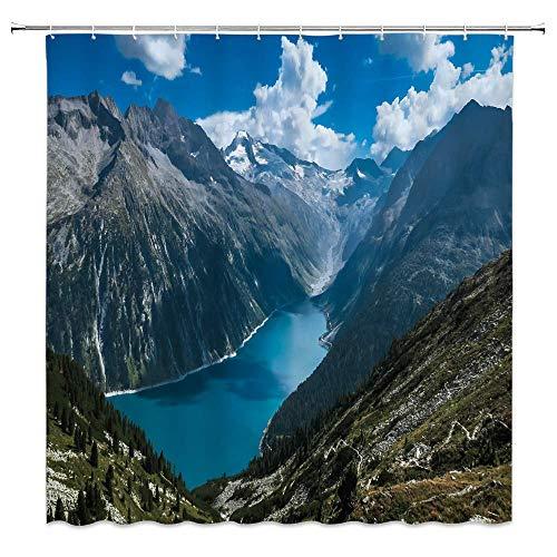 N\A Canyon Duschvorhang Dekor Schlucht Berggrüner Baum Blue River Landschaft Landschaft Kreative Badezimmer Vorhang Polyester Stoff Maschine Waschbar mit Haken