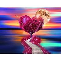 5DDIYダイヤモンドペインティングカラフルラブハートツリーフルドリル刺繡クロスステッチモザイククラフトキット家の装飾クリスマスギフト