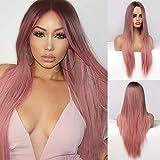 Peluca larga rosa EMMOR para mujer, pelo lacio natural, parte media, raíz oscura, pelucas sintéticas largas, cosplay para fiestas, uso diario