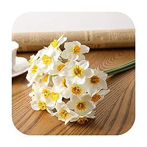 Silk Flower Arrangements F-pump 6Pcs/Lot Home Room Artificial Simulation Narcissus Flower Living Room Window Decor Fake Flowers Wedding Scene Decor Daffodil