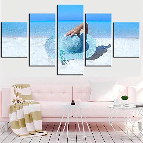 GYFUE Pintura 5 panelesVerano Playa Playa niña Paisaje marinocuadro de lienzodecoración del hogardormitorios Modernos decoración-No Frame-110x60cm