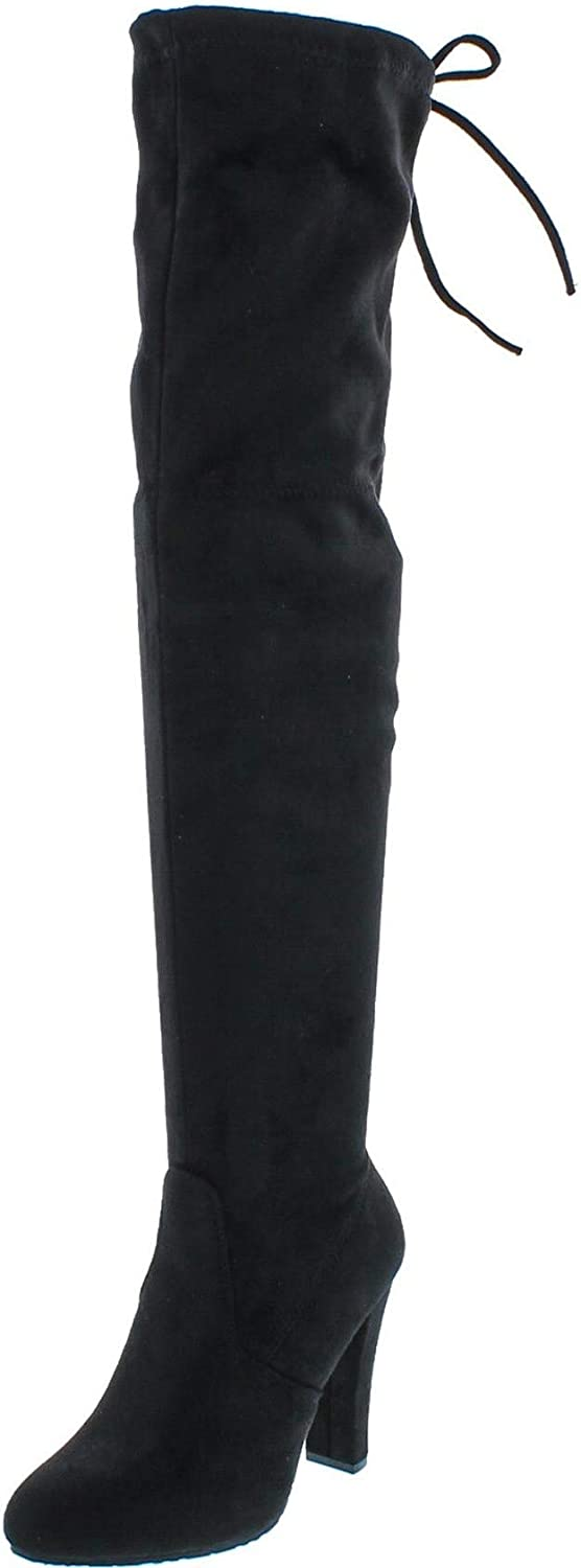 Forever Link Max 58% OFF Women's excellence Stacked Chunky High Heel Pull Stretch Thigh