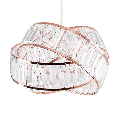 MiniSun Pantalla de lámpara de cobre con un diseño de anillo entrelazado y cuentas acrílicas transparentes con efecto de cristal, lámpara de techo de cristal para salón (metal/acrílico, 28,5 cm)