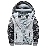 Reooly Winter Owl Print Warm Plus Velvet Zipper Thicken Sweater Jacket Sudadera con Capucha(C-Gris,Large)