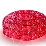 SEIKOH イルミネーションロープライト 50m 赤 LED 1500球 防水 防雨 点灯 点滅 連結 IRMRR050