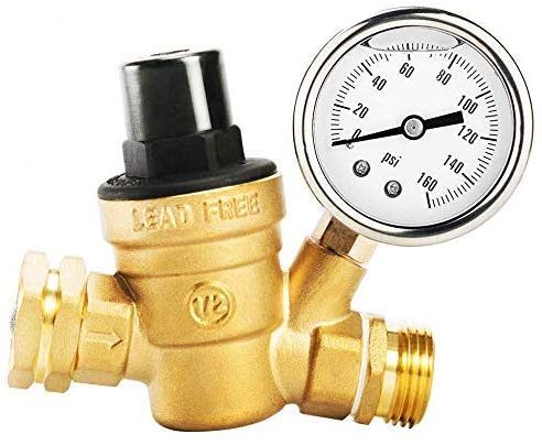 Circrane 3/4 Lead-Free Brass Water Pressure Regulator with Gauge Adjustable RV Pressure Reducer, Build in Oil and Inlet Stainless Screened Filter