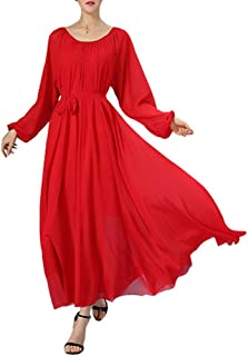 Women's Long Sleeve Crew Neck Loose Chiffon Long Maxi Dress with Belt
