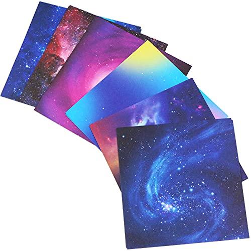 Papel para origami, 48 hojas plegables – estrellas fugaces, papel plegable en 6 colores, para Navidad, origami, manualidades, 15 x 15 cm, papel plegable para niños y adultos