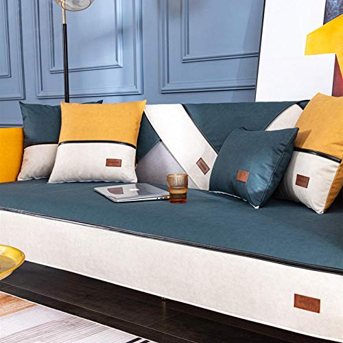 Homeen Funda de sofá Impermeable del Perro de Gato,Cuero sintiliario,Cubiertas de sofá Antideslizantes,Mascotas antiincrustante Protector de sofá-Verde Oscuro_70 * 90 cm