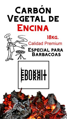 EDURAIT Carbón Vegetal Ecologico de Encina, para Barbacoas, Procedente de la Poda de Dehesas, Especial Barbacoas y Restaurantes. (Carbon 18Kg)