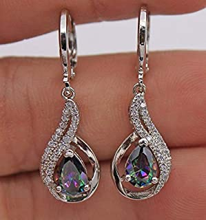 Jxc Seven Topaz Diamond Earrings European And American Drop Shaped Earrings(Deep Blue One Consideration)