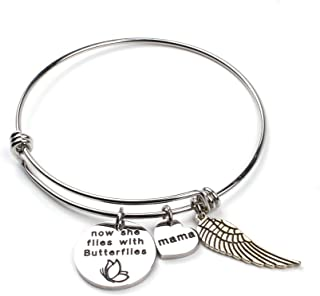 Anlive Now She Flies with Butterflies Memorial Bracelet Keepsake Jewelry Gift for Loss of a Loved one