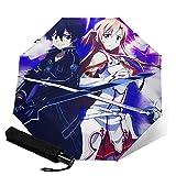 Anime Sword Art Online Paraguas plegable automático portátil para mujeres y hombres reforzado a prueba de viento marco impermeable y resistente a los rayos UV