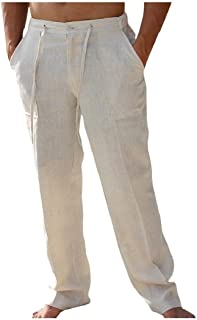 Howely Men Basic Style Solid Linen Long Pants Ethnic Straight-Fit Work Pant