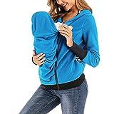 CRGL Umstandsjacke Babytrage Hoodie Tragejacke Winter, Damen Fleece Zip Up Mutterschaft Baby Trage Hoodie Sweatshirt Jacke, 3 in 1 Polar Fleece Warm Kangaroo Coat,Blau,XL