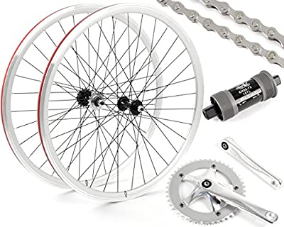 Eighth Inch Fixed Gear/Single Speed Conversion Kit 700c Wheelset Cranks // Silver