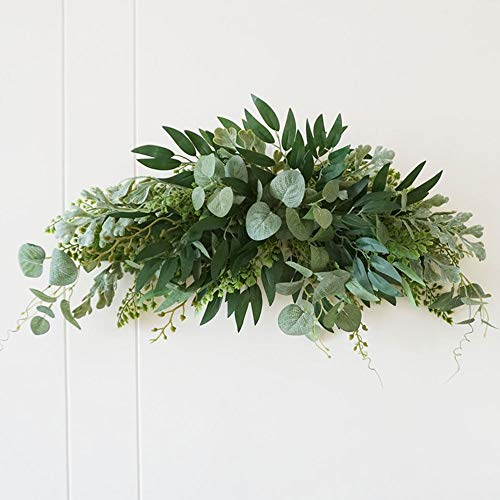 SYLOTS 27.5 Floral Swag, Large Artificial Mixed Eucalyptus Leaves Swag, Handmade Front Door Twigs Leaves Greenery Decorative Swag for Wedding Arch Party Wall Home Garden Decor