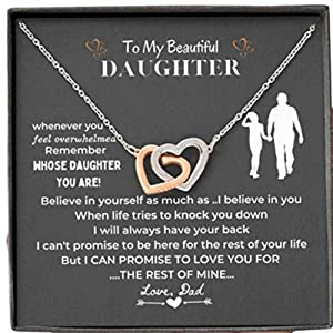 FATHER DAUGHTER NECKLACE GIFT: For any Anniversary Birthday, Christmas it is delivered in a Gift Box Made of Sterling Silver, the heart pendant plated with rose gold, each product is carefully crafted in the U.S.A READY TO GIFT: included a nice gift ...