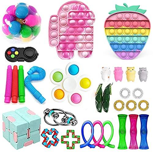 Juego de juguetes sensoriales con burbujas de empuje pop, juguetes fidget Figetgets-Toys Pack alivia la ansiedad del estrés para niños y adultos (juguete-6)