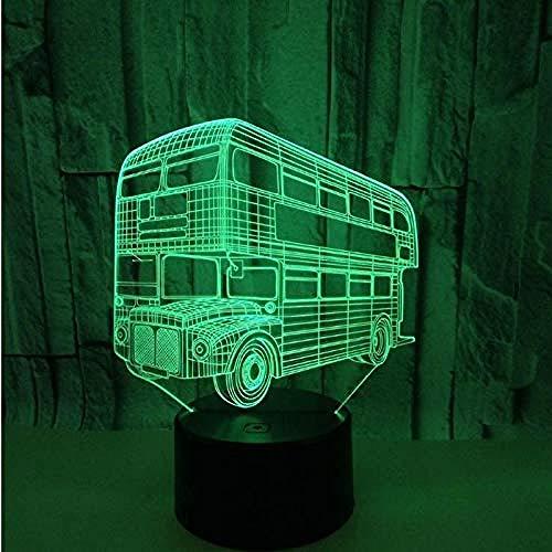 Nachtlampje 3D-lamp slaaplamp bus 3D visuele lamp 7 kleuren stereo 3D nachtlicht acryl Lamparas De Mesa lampenkap voor tafellampen