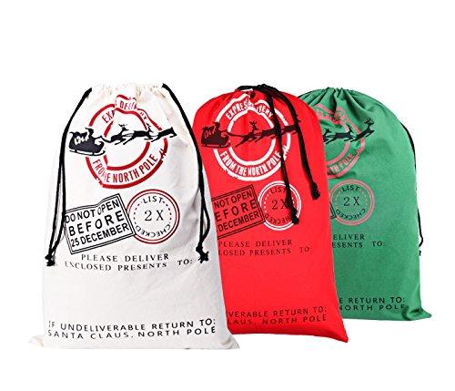 KEFAN 3 Pack Christmas Bag Santa Sack Canvas Bag for Gifts Santa Sack with Drawstrings Extra Large Size 27.5'x19.5' (Pattern 1)
