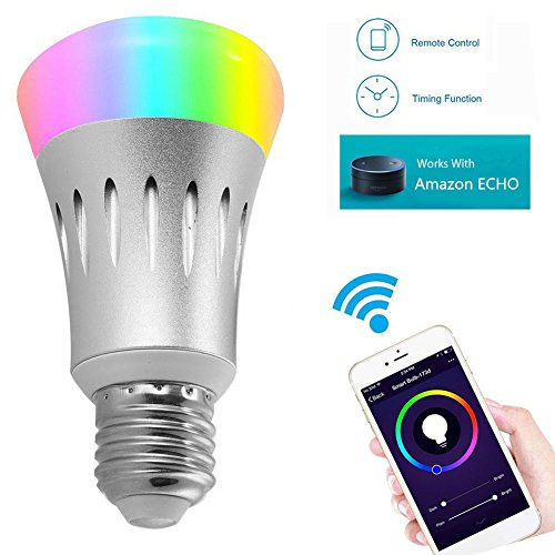 AIJING LED RGBW Lampe mit Fernbedienung, mit Amazon Alexa(Echo, Echo Dot),Google Home E27 Dimmbare Birne mit RGB und Kaltweißem Licht, RGB + Weiß