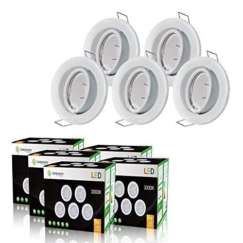 LOT DE 25 SPOT LED ORIENTABLE BLANC AVEC AMPOULE GU10 230V eq. 50W, BLANC CHAUD