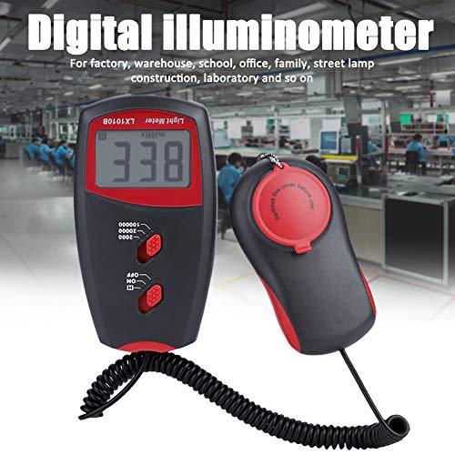 Qinlorgo Digitales Lichtmessgerät, LX1010B Digitales Luxmeter LCD-Display Lichtmessgerät Umgebungsprüfung Illuminometer