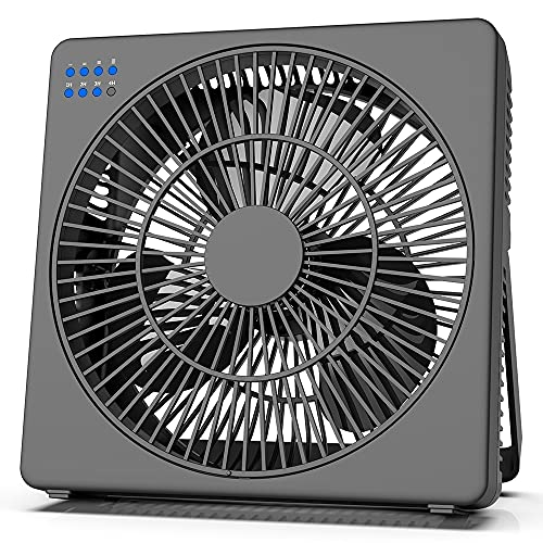 8 Inch Desk Fan with Timer, USB Operated, 5 Speeds Powerful Wind, Quiet Operation for Personal Office, Portable Table Flat Box Fan for Office RV, Travel Camping, Window (Adapter Included)
