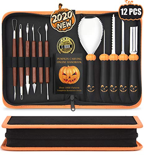 Upgraded 12 PCS Pumpkin Carving Kit for Adults & Kids with Professional Detail Sculpting Tools, Heavy Duty Stainless Steel Knife Set with Carrying Case & 1000 Stencils Ebook for Halloween Decoration