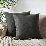 PHF Baumwoll-Kissenbezüge, Jacquard, 2er-Set, 45,7 x 45,7 cm, Heimdekoration, für Sofa, Bett, ohne Füllung, Dunkelgrau