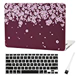 Laptop Plastic Hard Case A1425 Case A1502 MacBook Pro 13 inch Hard Case Sleeve Flowers MacBook Pro 13 Inch A1425 A1502 Silicone Keyboad Cover and Dust Brush (Peach Blossom-Wine red)