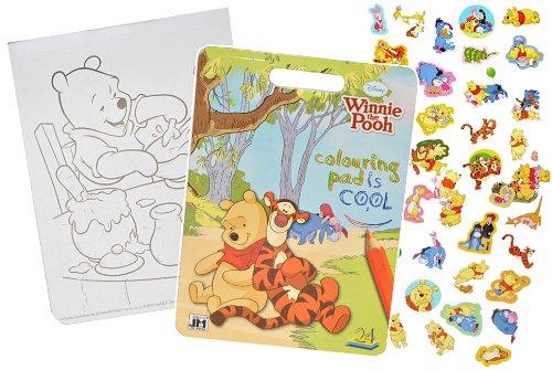 alles-meine.de GmbH Malbuch / Malblock mit 45 Stickern - Disney Winnie The Pooh - Malvorlagen Aufkleber Ausmalbuch Puuh