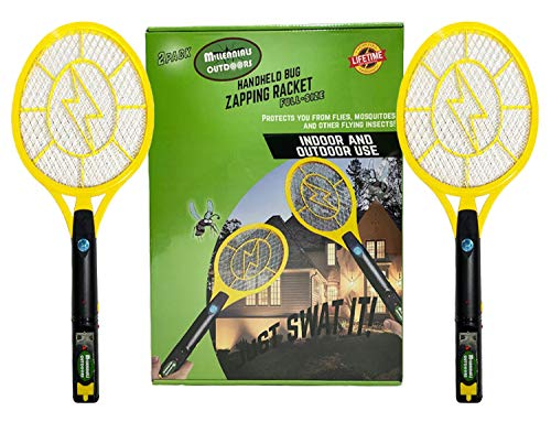 Full Size -2 Pack Bug Zapper Rechargeable Fly Killer, Mosquito Killer Racket Outdoor, Indoor- 4,000 Volt, USB Charging Bright LED Light, Large Insects Swatter in the dark (19 x 8 x 1.4 IN)